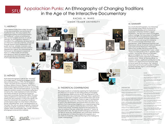 "Appalachian Punks: An (Interactive) Ethnography of Changing Traditions Best-of Award / Society for Applied Anthropology 2015    While folklore studies have widely focused on the documentation and archiving of traditional music, this study will explore the global permutations and transformations of ""traditional"" culture as facilitated by new access to digital archives of cultural heritage. My project will focus on the theoretical question, how do interactive documentary projects create access to collections and help (or hinder) safeguarding intangible cultural heritage? My ethnographic research will be conducted through the participatory development of an interactive documentary, produced through research and collaboration with the Smithsonian Centre for Folklife and Cultural Heritage, Library of Congress, scholars, musicians, and community stakeholders from the northern Appalachian regions (Pennsylvania, West Virginia, Pittsburgh and Brooklyn)."
