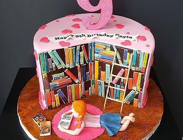 bookworm theme cake! The whole thing tel