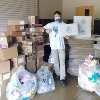 We use large donations from partners for our care boxes.