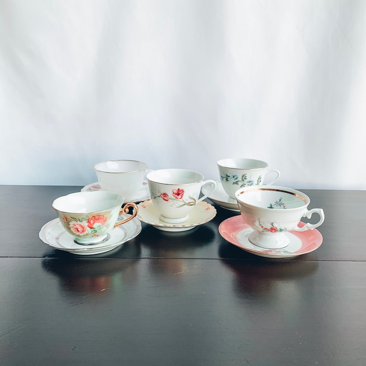 Tea Cups and Saucer Mismatched