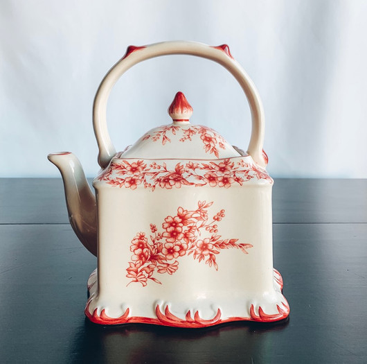 Square White Tea Pot with Pink Flowers.j