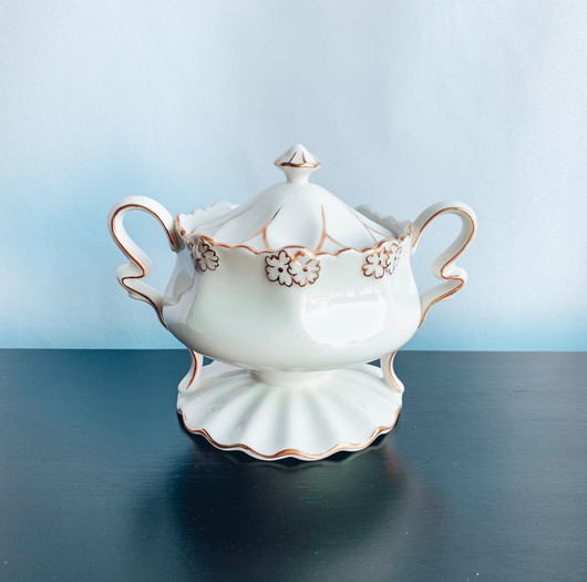 Ornate White and Gold Sugar Dish.jpg