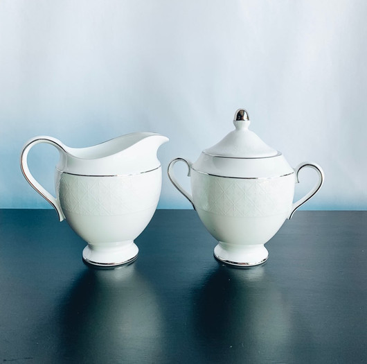White with Silver Detail Creamer and Sug
