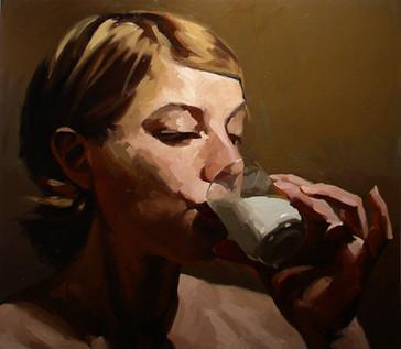 Lindsay drinking milk