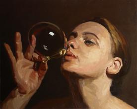 Jenny blowing a soap bubble
