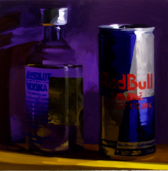Bull Vodka (alert while drunk),  30 X 30 inches, oil on canvas (1)