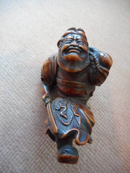 Carved boxwood Netsuke of Shoki