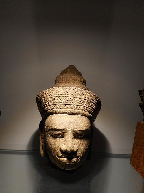 Cambodian sandstone head of a male deity
