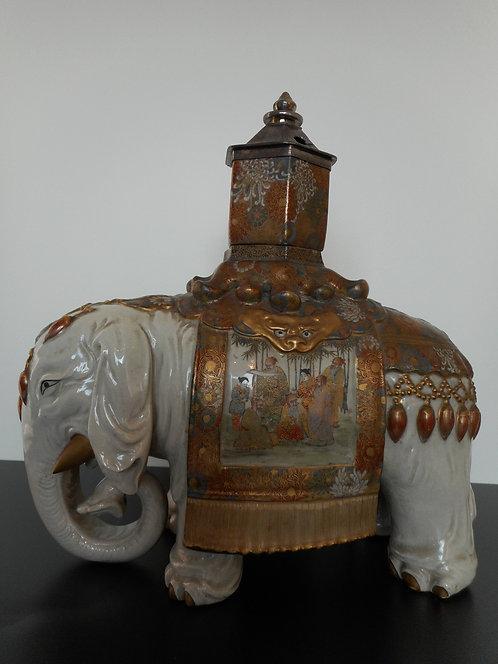 Satsuma ware Elephant incense burner