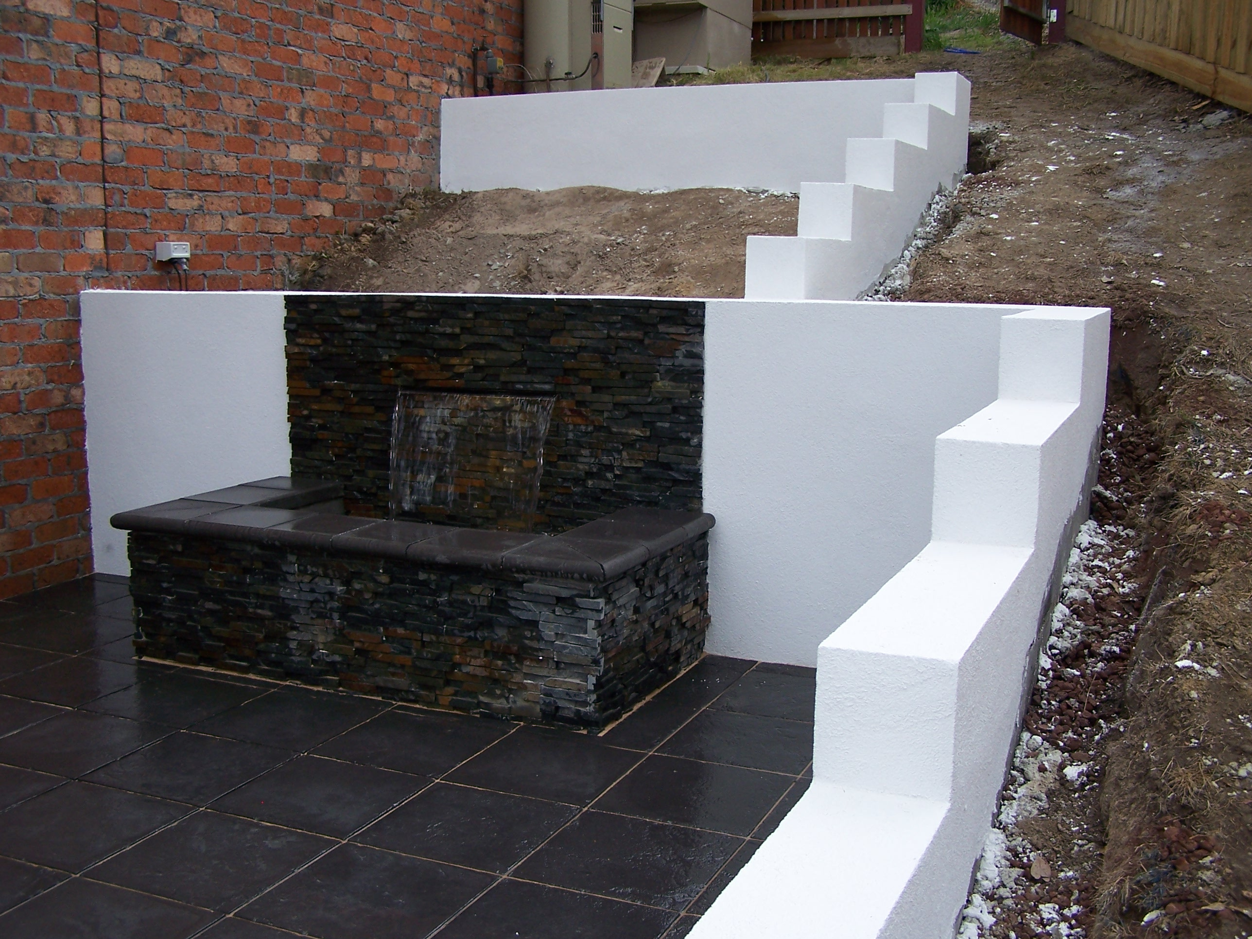 water feature & retaining wall
