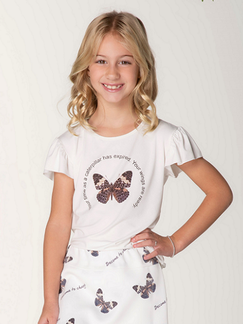 T-Shirt Malha Borb. Strass wings Mg Fru-fru