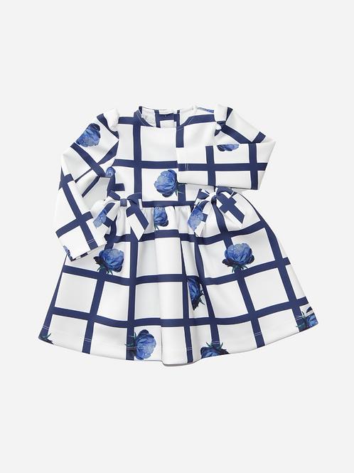 Vestido Neoprene Clara Rosas azul Mg 7/8