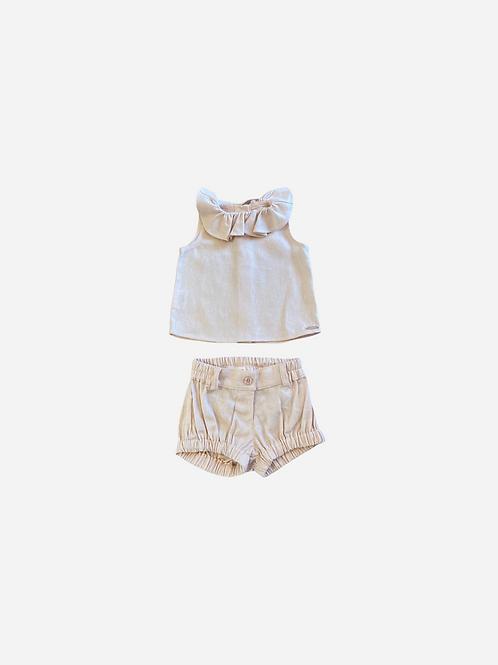 Conjunto Linho Baby Girl Rosa