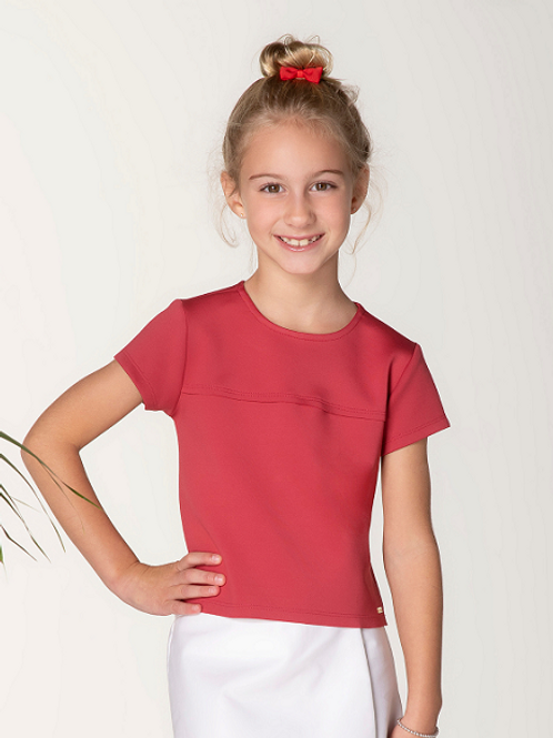 Blusa Cropped Neoprene M/C Coral
