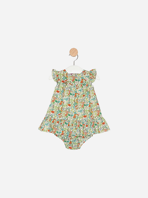 Vestido Liberty® Juju Flowers Verde c/ tapa Fralda.