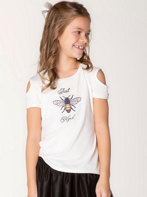 T-Shirt Malha Just Kind Mg. Ombro Vazado