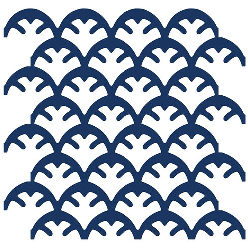 Navy Blue Coral Motif Pattern Tiles