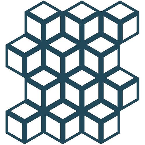 Deep Indigo Cinetic Motif Pattern Tiles