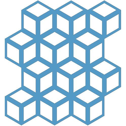 Aqua Blue Cinetic Motif Pattern Tiles