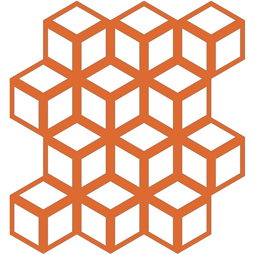 Orange Cinetic Motif Pattern Tiles