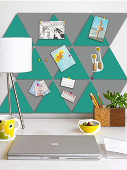 Turq and Silver Home office-  Triangle