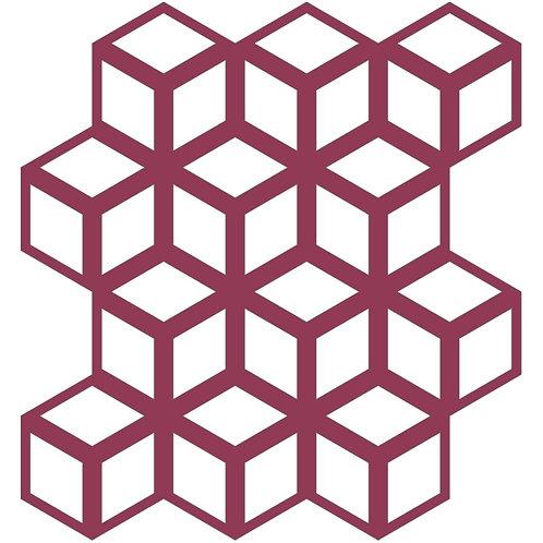 Raspberry Cinetic Motif Pattern Tiles