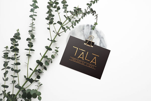 Visitenkarte von TALA Premium Food in Szene gesetzt
