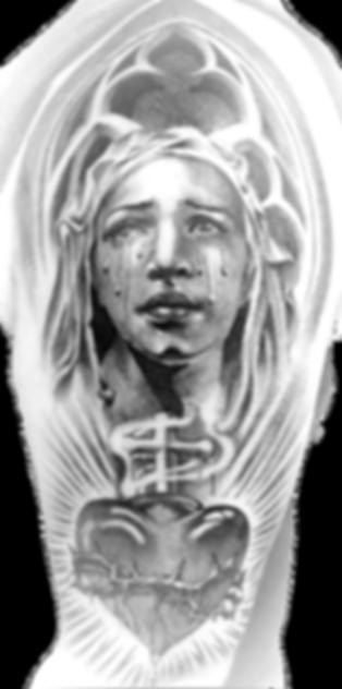 black and gray tattoo portrait. tatt2tk1