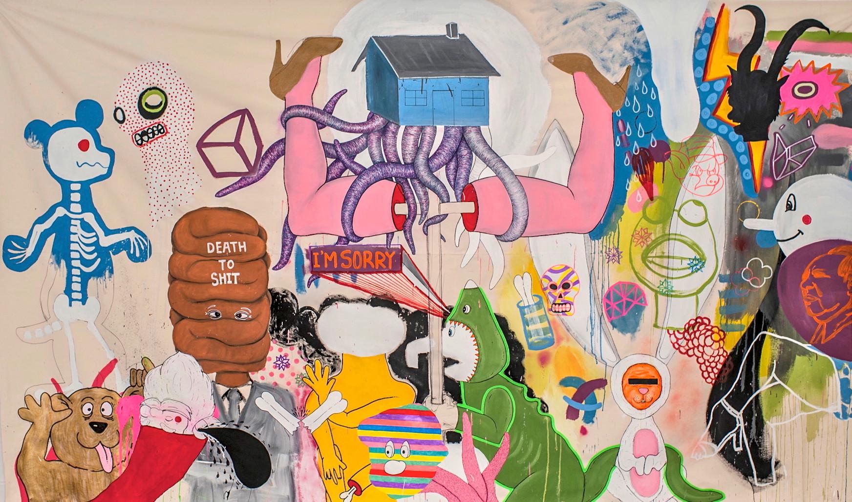 330 x 180 cm - Pintura y marcador sobre