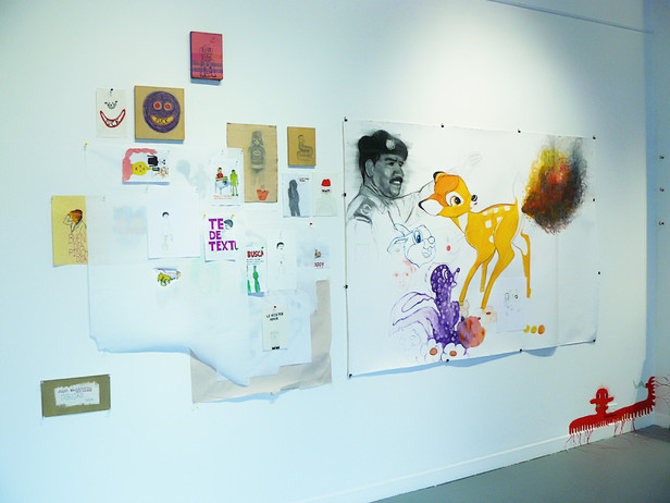 Instalacion de dibujos Piss and love 2011