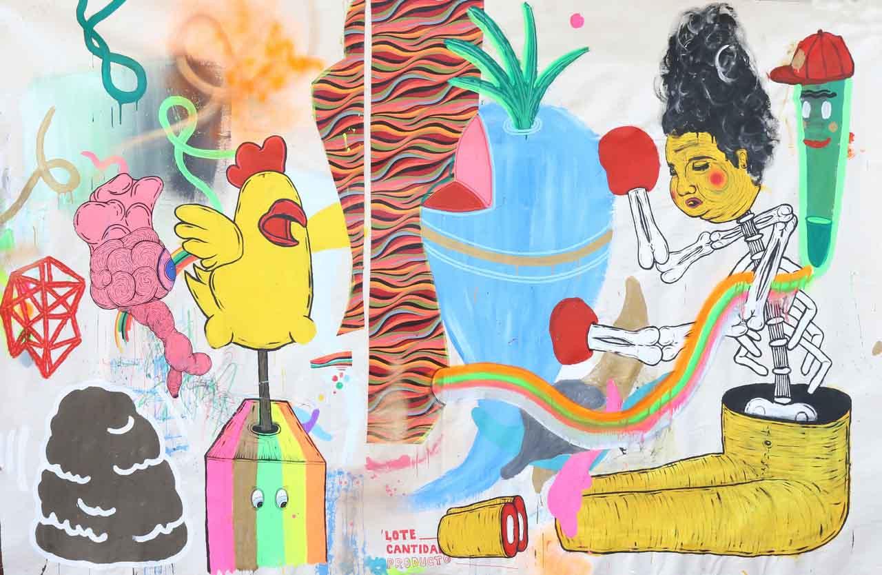 280 x 184 cm-Pintura, collage y marcador