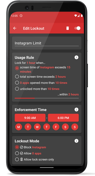 Usage Based Lockout Example