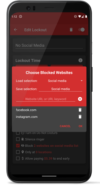 Choose Blocked Websites