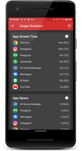 View detailed app usage