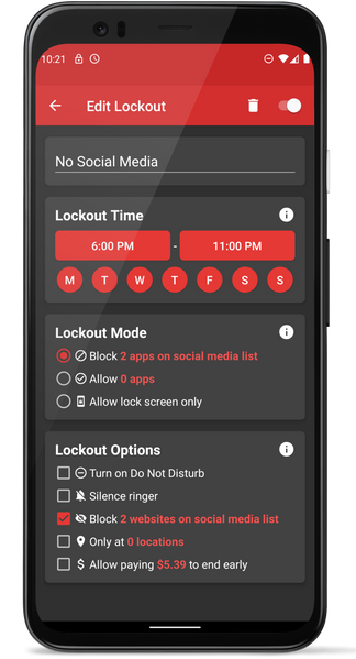 Scheduled Lockout Example