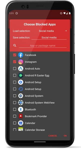 Choose Blocked Apps