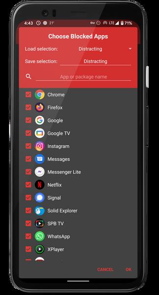 Choosing blocked apps