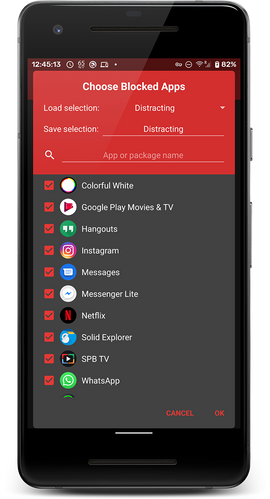 Choose apps to block or allow