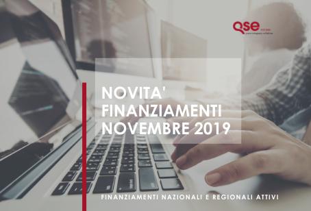 Novità Finanziamenti/Bandi per le aziende Novembre 2019