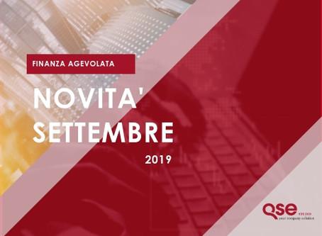 Novità Finanziamenti/Bandi per le aziende Settembre 2019