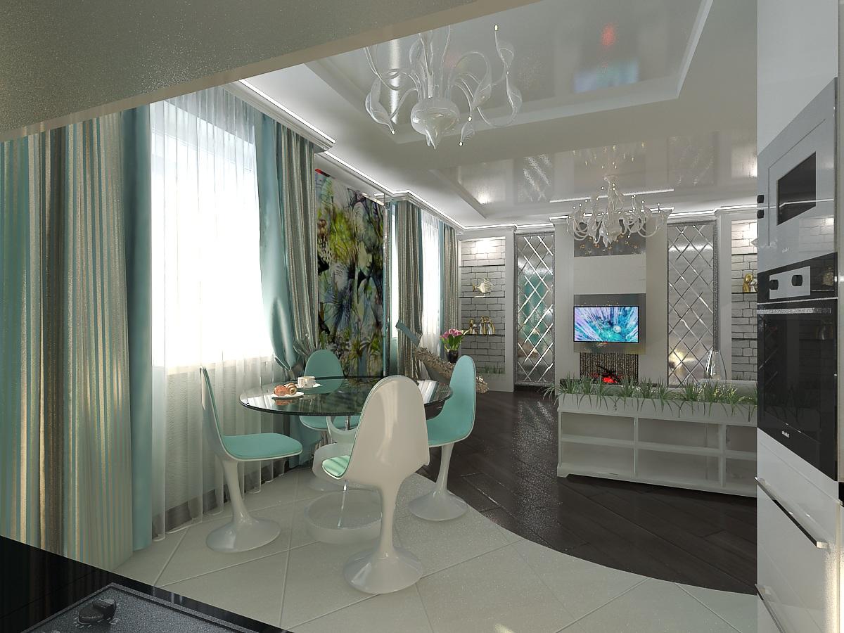 дизайн кухни-гостиной2