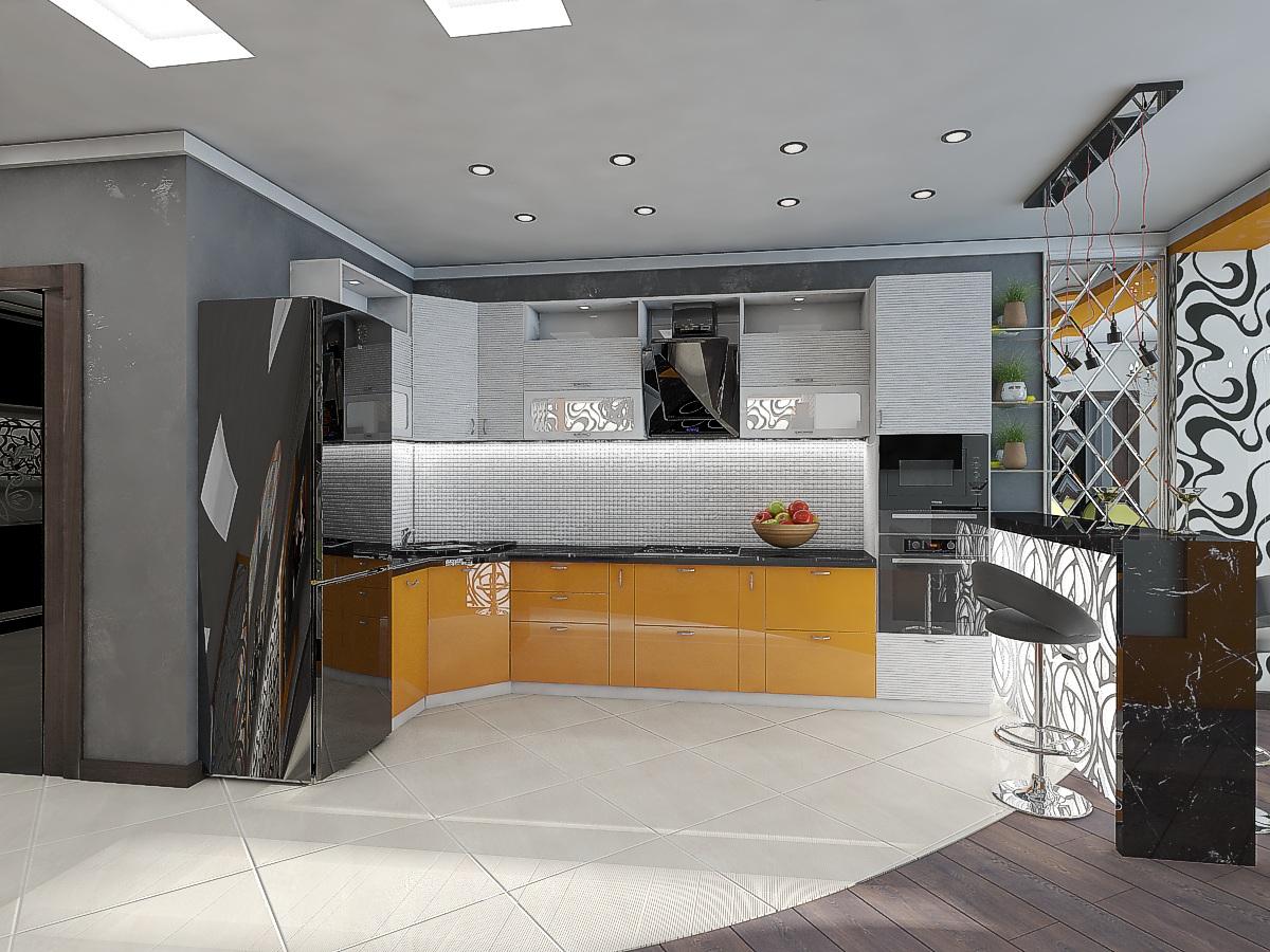 дизайн кухни-гостиной 8