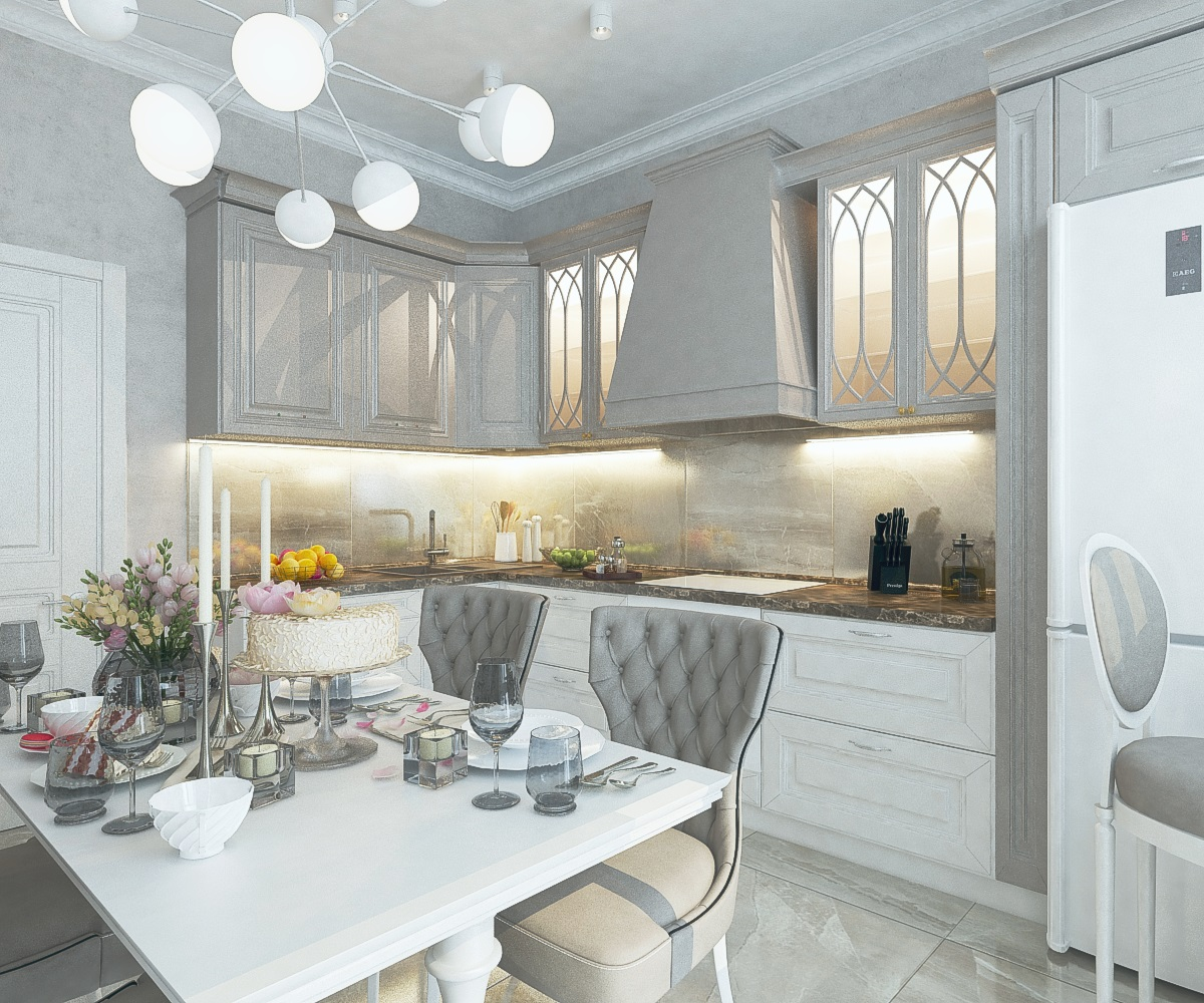 дизайн кухни в 3-комнатной квартире