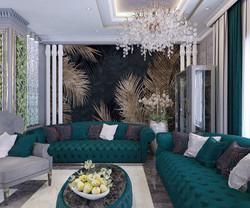 кухня-гостиная холл в стиле арт-деко