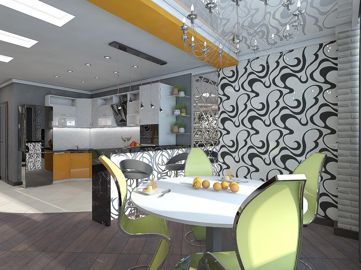 дизайн кухни-гостиной 2