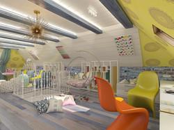 дизайн игровой комнаты на мансарде