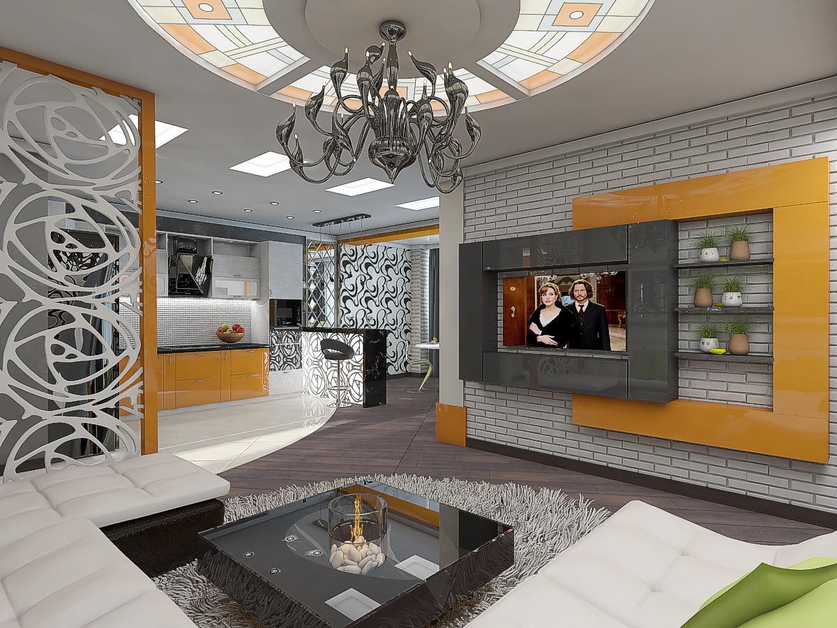 дизайн кухни-гостиной 4