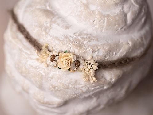 Cream Ivory & Brown Rose Newborn Tieback Headband