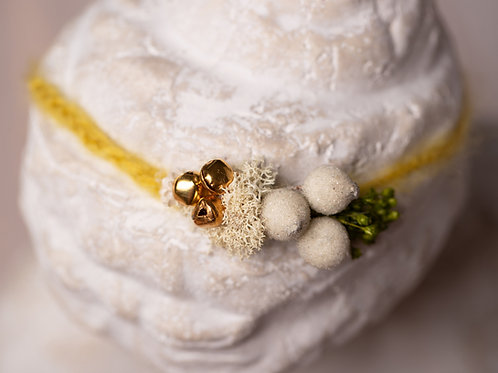 Christmas Mustard, Berry and Bells Newborn Tieback Headband