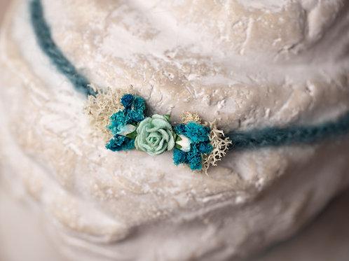 Teal and Turquoise Rose Newborn Tieback Headband